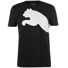 MENS BLACK WHITE BIG CAT QT PUMA SHORT SLEEVE CREW NECK TEE SHIRT T-SHIRT