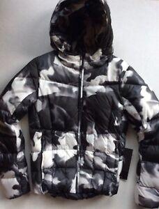 NEW Volkl Women's Size 10 Silver Mirror Down Hooded Jacket in Black & White