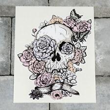 Skull And Flowers Vinyl Sticker Decal Car Van Bike - 152mm x 191mm - SKU5465