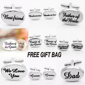 Personalised Engraved Cufflinks Silver Mens Groom Best Man Wedding Gift Groom UK