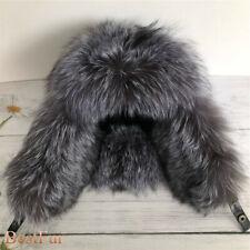 Men's Real Fox Fur Hat Russian Ushanka Aviator Trapper Hunter Ski Earlap Cap