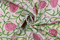 5 Yard Dressmaking Hand Block Print Fabric Indian Handmade Beige Sewing Fabric