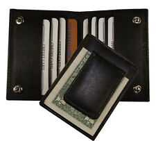 Leather Bifold Magnetic Money Clip Slim Credit Card Holder Black Men's Wallet