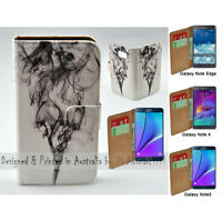 For Samsung Galaxy Note Series Black Smoke Print Wallet Mobile Phone Case Cover