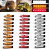 30PCS 6LED 12V Truck Trailer Side Marker Indicators Lamp Light White+Amber+Red