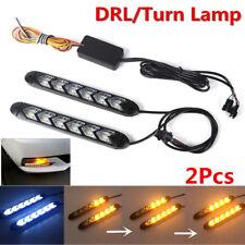 2Pcs Car DRL White/Amber Switchback Flowing 108 LED Strip Headlight Turn Signal
