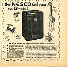 1948 small Print Ad of National Enameling & Stamping Co NESCO Fuel Oil Heater