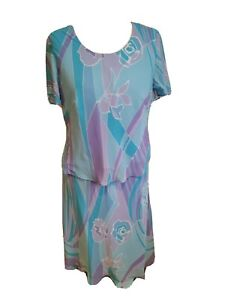 Size 14-16 Jacques Vert Blue Purple Two Piece Skirt Blouse Set Mother Of Bride