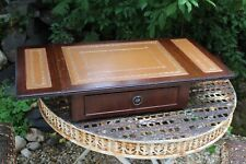 Vintage Wooden Extending Side Table with Leather Top and Drawer