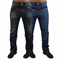 Mens Jeans Firetrap Straight Leg Regular Fit Casual Denim Bottom Pants