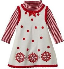 Bonnie Jean Red Snowflake Sweater Jumper 2Piece Dress Infant Baby Girl 24 Months