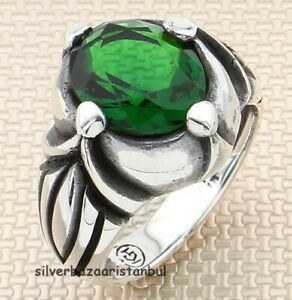 Handmade Polite Red Ruby Stone 925 Sterling Silver Turkish Mens Ring All Size