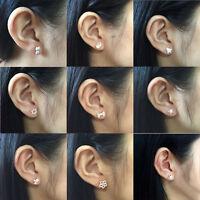 925 Silver Scrub Stud Earrings Crown Flower Cat Women Girls FASHION Jewelry
