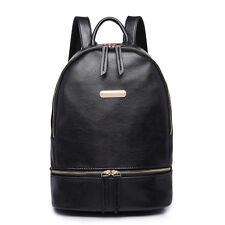 Women Faux PU Leather Skull Shoulder Tote School Backpack Handbag Travel Bag Black
