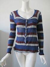 Anthropologie WE THE FREE Blue Brown Stripe Glitter Sheer Top Blouse S/P