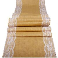 5x 10x Burlap Hessian Table Runner Lace 100% Natural Jute Country Party Wedding