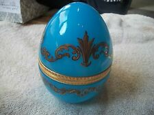 FRENCH Blue Gold Opaline Glass Egg VINTAGE Hinged Trinket Box Gorgeous Free Ship