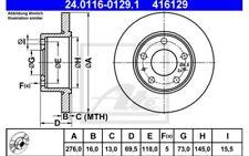 2x ATE Discos de Freno Traseros 276mm Macizo Para IVECO DAILY 24.0116-0129.1