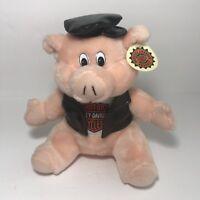 """Harley Davidson Road Hog 10"""" Plush Pig Biker Stuffed Animal Official Vintage 98"""