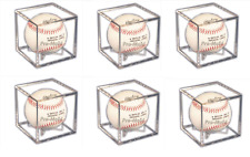 (6 ct) Pro-Mold Ball Cube III Baseball Holder Display Case Built in Stand