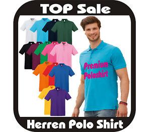 5x(9,30€/Stück)Poloshirt Premium 100% Baumwolle Fruit of the Loom Polo 22 Farben