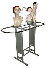 Double Bar Silver clothing garment racks Store Fixture Rack W/Glass Shelf YS14