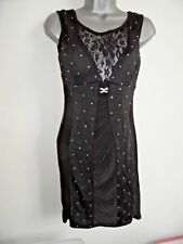 Little Black Dress Size M 10-12, Diamante Lace Plunge Back Bodycon Stretch