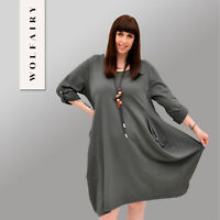 Wolfairy Womens Plus Size Midi Dress Long Sleeve Lagenlook Cotton Baggy Quirky