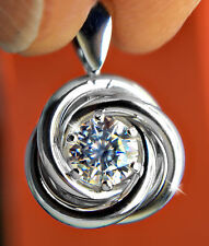 5 ct Love Knot Pendant New Vintage Top Russian CZ Moissanite Simulant SS