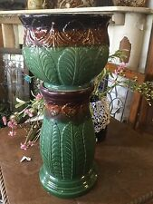Robinson Ransbottom Pottery Roseville Jardiniere & Pedestal Brown Green Leaf 153