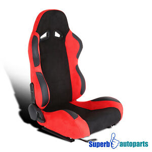 Right Side Black Red Durable Suede PVC Leather Bucket Style Sporty Racing Seat