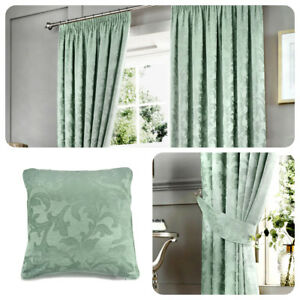Curtina ANDERTON Pencil Pleat Curtains Ready Made Duck Egg Drapes and Cushions
