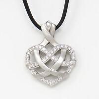 NYJEWEL 18k White Gold Valentines Day 1.25ct Diamond Heart Pendant Necklace