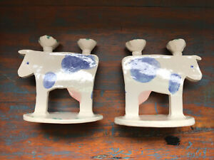 Pair Studio Art POTTERY Cow Candle Holders Blue Simple Signed Handmade