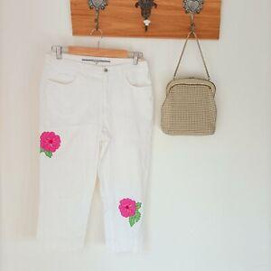 Vintage 90s Escada Sport 40 mid Rise Straight Leg White Denim roses embellished
