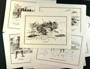 20 CM Russell Placemat Sketches Reproduction Of Original The Western Collection.