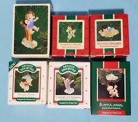 Lot of 6 ~ Hallmark DONNA LEE ANGELS ~ 1980s Christmas Keepsake Ornaments