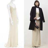 new DRIES VAN NOTEN AW16 Deming beige pearl embellished slip gown dress FR36 S