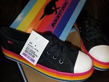 Rocket Dog Women's Magic Canvas/Rainbow Foxing Fashion Sneaker, Black, 8.5 M US