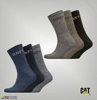 3 Pack Mens Caterpillar Knitted Logos Comfort Rib Trim Boot Socks Sizes 6-11