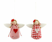 2 x Gisela Graham Red & White Fabric Fairy Heart Hang Christmas Tree Decorations