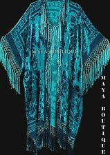 Kimono Duster Fringe Jacket Silk Burnout Velvet Drk Turquoise Maya Matazaro Plus