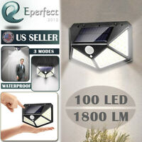 100 LED Solar Light Outdoor PIR Motion Sensor Waterproof Garden Wall Yard Lamp