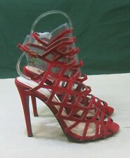 """NEW RED 4.5""""Heel PEEP Toe Sexy Ankle Strap SEXY hoes  WOMEN Size 7.5"""