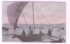 Fishing Outrigger Canoe Colombo Ceylon Sri Lanka 1910c postcard