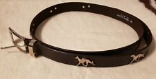 Greyhound Whippet Leather Belt Xl Brown with Silver Dogs