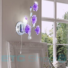Design Wall Light Room Chrome Blossom Lamp Switch Spotlight Leaves Purple
