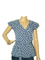 NEW LADIES OFFICE WORK WEAR BLUE  PRINT BLOUSE SUMMER TOP  8,10,12,14, 16, 18
