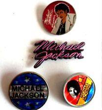 MICHAEL JACKSON vintage set of 4  badges, original '80's, crystal and plastic.