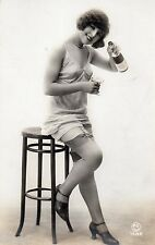 BE201 Carte Photo vintage card RPPC Femme woman bouteille alcool sexy nuisette